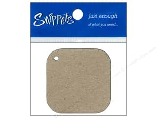 twine: Paper Accents Chipboard Shape Square Tag with Round Corners 4 pc. Natural