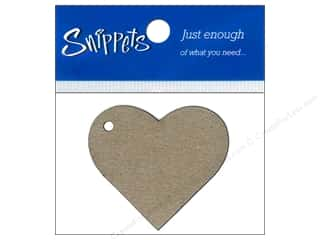 Paper Accents Chipboard Shape Heart Tag 4 pc. Natural
