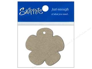 Chipboard Shapes  Flowers: Paper Accents Chipboard Shape Flower Tag 4 pc. Kraft