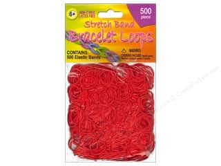 Clearance Pepperell Silkies Bands: Pepperell Stretch Band Bracelet Loops Red 500pc
