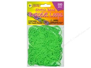 Clearance Pepperell Silkies Bands: Pepperell Stretch Band Bracelet Loops Green 500pc