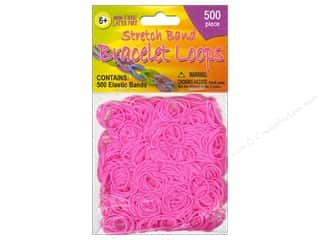 Clearance Pepperell Silkies Bands: Pepperell Stretch Band Bracelet Loops Pink 500pc