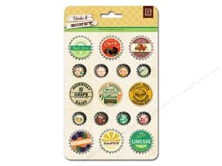 Clearance Paper Accents Bottle Caps: BasicGrey Bottle Cap Stickers Herbs & Honey