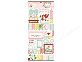 Clearance Paper Accents Bottle Caps: Carta Bella Chipboard Accents Baby Mine Adhesive Girl