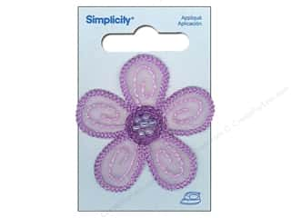 Simplicity Iron On Applique Lavender Daisy with Beads