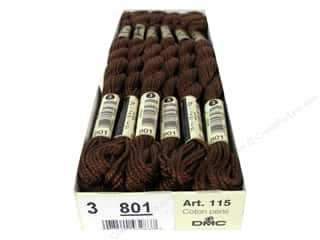 DMC Pearl Cotton Skein Size 3 #801 Dark Coffee Brown (12 skeins)