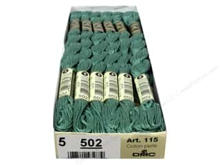 DMC Pearl Cotton Skein Size 5 #502 Blue Green (12 skeins)
