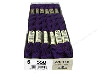 DMC Pearl Cotton Skein Size 5 #550 Very Dark Violet (12 skeins)