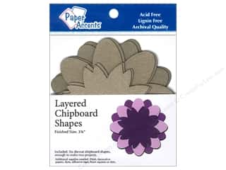 Chipboard Shapes  Flowers: Paper Accents Layered Chipboard Shapes Flower 6 pc. Kraft