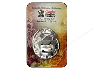 """beading & jewelry making supplies: Leather Factory Concho Round With Star 1"""" Nickel 10pc"""