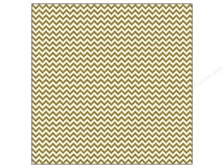 Doodlebug 12 x 12 in. Paper Sugar Coated Chevron Metallic Gold (25 sheets)