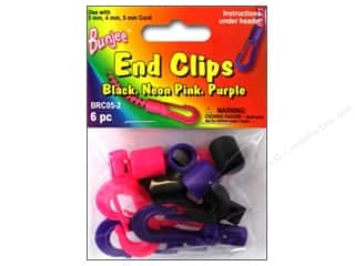beading & jewelry making supplies: Pepperell Bungee Cord Bracelet End Clips Black/Neon Pink/Neon Purple 6pc