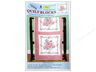 square hoop: Jack Dempsey 18 in. Quilt Blocks 6 pc. Rose Bouquet