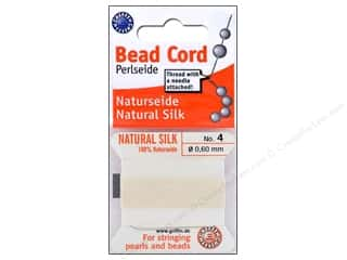 beading & jewelry making supplies: Beadalon Bead Cord 100% Silk Size 4 White 2M