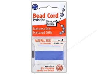 Beadalon Elonga Stretchy Bead Stringing Cord: Beadalon Bead Cord 100% Silk Size 4 Blue 2M