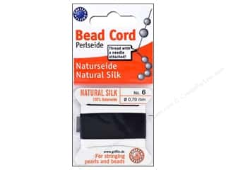 beading & jewelry making supplies: Beadalon Bead Cord 100% Silk Size 6 Black 2M