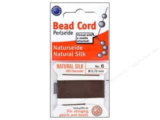 Beadalon Elonga Stretchy Bead Stringing Cord: Beadalon Bead Cord 100% Silk Size 6 Brown 2M