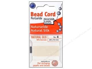 beading & jewelry making supplies: Beadalon Bead Cord 100% Silk Size 6 White 2M