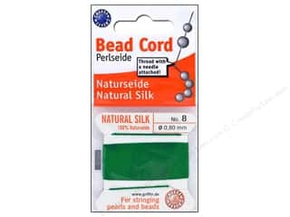 beading & jewelry making supplies: Beadalon Bead Cord 100% Silk Size 8 Green 2M