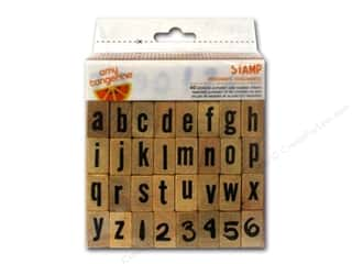 stamps: American Crafts Wood Stamps 40 pc. Amy Tangerine Plus One Document Alphabet & Numbers