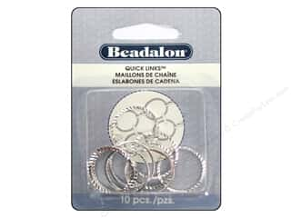 beading & jewelry making supplies: Beadalon Quick Links Diamond Cut Round 20 mm Silver Plated 10 pc.