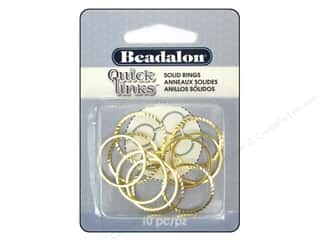 beading & jewelry making supplies: Beadalon Quick Links Diamond Cut Round 20 mm Gold Plated 10 pc.