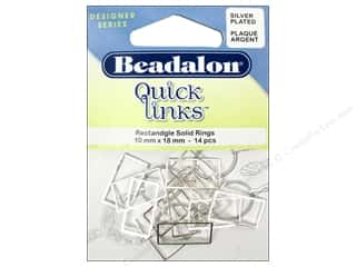 Jump Rings / Spring Rings: Beadalon Quick Links Rectangle 10 x 18 mm Silver 14 pc.