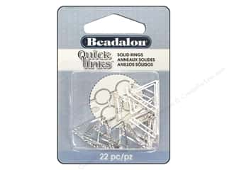 beading & jewelry making supplies: Beadalon Quick Links Triangle Diamond Cut Round 16.5 mm Silver 22 pc.