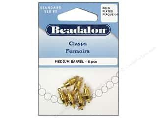 beading & jewelry making supplies: Beadalon Barrel Clasps 9.5 mm Medium Gold 6 pc.