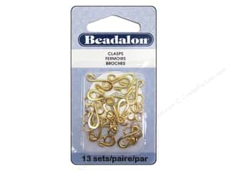 beading & jewelry making supplies: Beadalon Hook & Eye Clasps Medium 13 pc. Gold