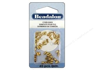 craft & hobbies: Beadalon Cord Ends Light 1.9 mm Gold 45 pc.