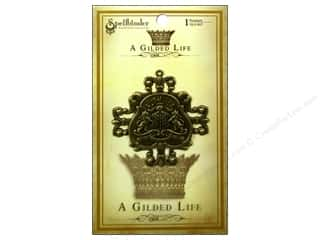 beading & jewelry making supplies: Spellbinders Pendant Gilded Life Family Crest Antique Gold