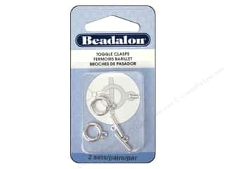 beading & jewelry making supplies: Beadalon Toggle Clasps 10.4 mm Medium Silver 2 pc.