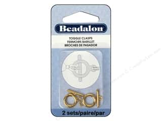 beading & jewelry making supplies: Beadalon Toggle Clasps 10.4 mm Medium Gold 2 pc.