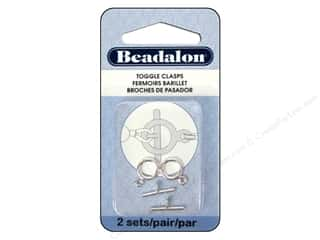 beading & jewelry making supplies: Beadalon Toggle Clasps 9 mm Small 2 pc. Silver