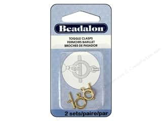 beading & jewelry making supplies: Beadalon Toggle Clasps 9 mm Small 2 pc. Gold