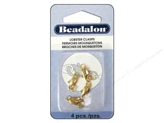beading & jewelry making supplies: Beadalon Lobster Clasp Two Ring 12 mm Gold 4 pc.