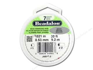 beading & jewelry making supplies: Beadalon 7 Strand Bead Wire .021 in. Bright Silver 30 ft.