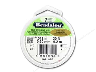 twine: Beadalon 7 Strand Bead Wire .012 in. Satin Gold 30 ft.