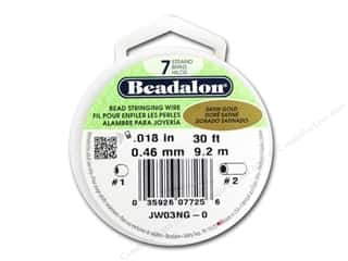 beading & jewelry making supplies: Beadalon 7 Strand Bead Wire .018 in. Satin Gold 30 ft.