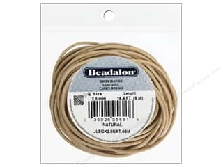beading & jewelry making supplies: Beadalon Greek Leather Cord 2.0 mm Natural 16.4 ft.