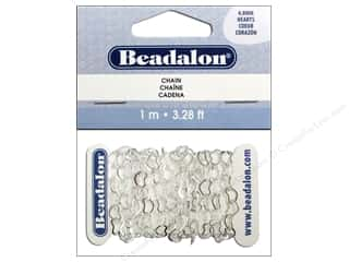 beading & jewelry making supplies: Beadalon Heart Cable Chain 4.8 mm Silver 3.28 ft.