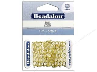 beading & jewelry making supplies: Beadalon Heart Cable Chain 4.8 mm Gold 3.28 ft.