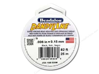 beading & jewelry making supplies: Beadalon DandyLine Beading Thread 0.15 mm Black 82 ft.