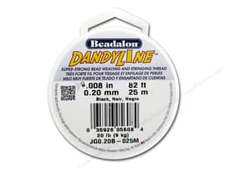 craft & hobbies: Beadalon DandyLine Beading Thread 0.20 mm Black 82 ft.