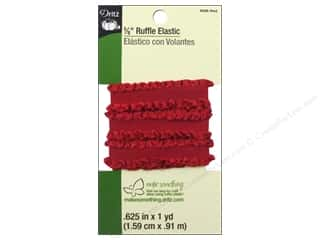 Dritz Ruffle Elastic 5/8 in. x 1 yd.  Red
