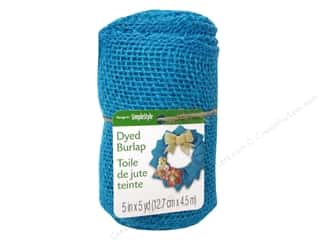 decorative floral: FloraCraft Burlap Ribbon 5 in. x 5 yd. Blue