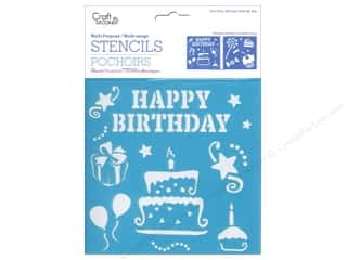 craft & hobbies: Craft Decor Stencil 6 x 6 in. Birthday Treats