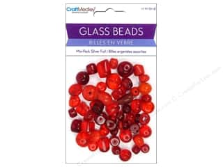 Clearance John Bead Glass Beads: Multicraft Bead Glass Silver Foil Red 1.7oz