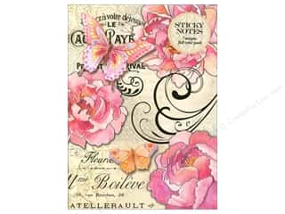 Gifts & Giftwrap: Punch Studio Sticky Notes Portfolio Peony Butterfly Script